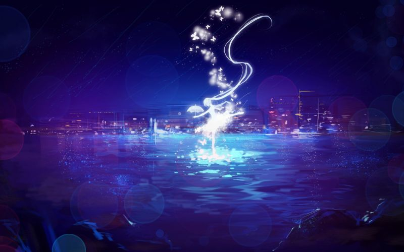city hatsune miku long hair miemia night rain scenic silhouette sky twintails umbrella vocaloid water wallpaper