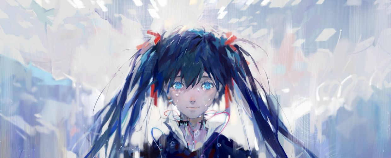 Vocaloid Hatsune Miku Bust Sad Hair Ribbon wallpaper