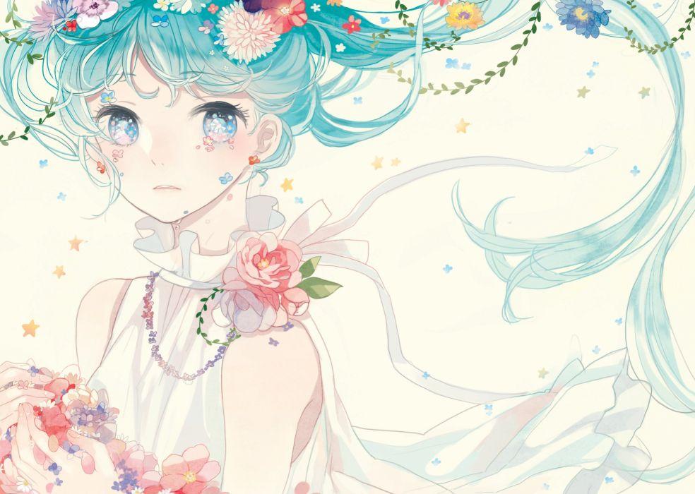 Vocaloid Hatsune Miku Bust Blue Flower Pink Flower wallpaper