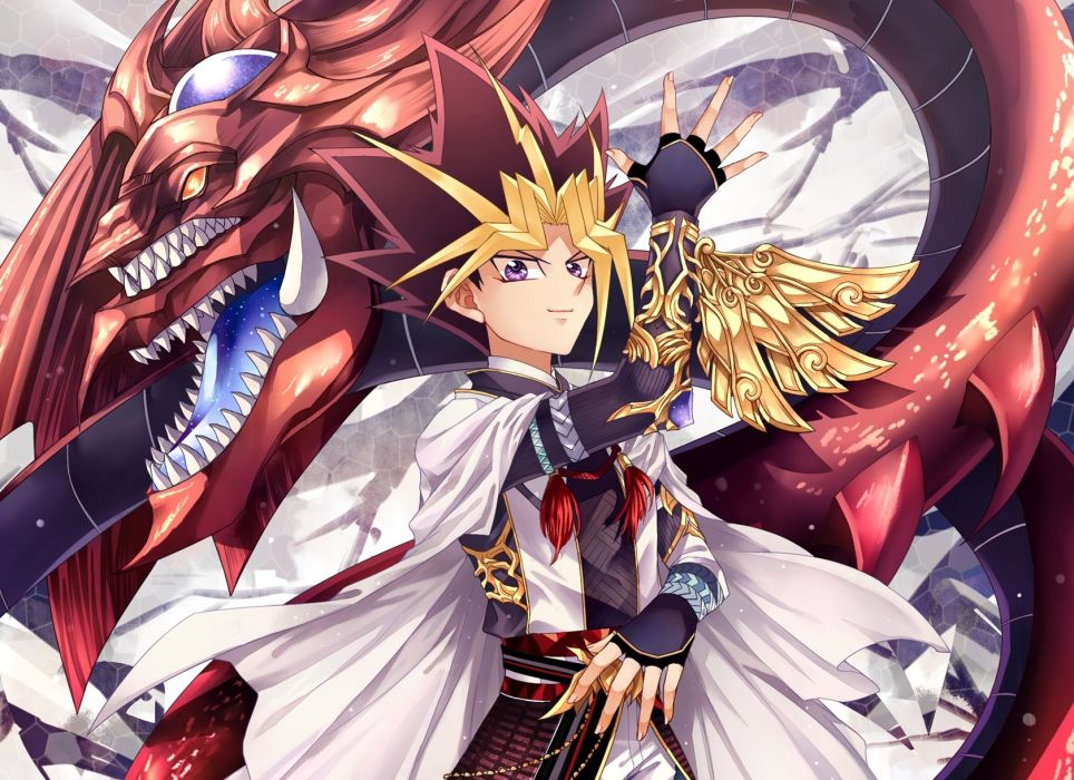 Yu-Gi-Oh! Duel Monsters Yu-Gi-Oh! Yami Yugi Slifer The Sky Dragon Looking Ahead wallpaper