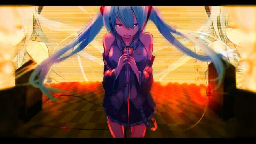 hatsune miku long hair twintails vocaloid wallpaper