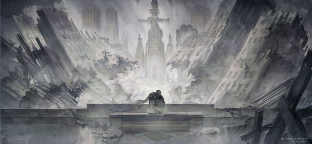 kekkai sensen ruins scenic zxq wallpaper