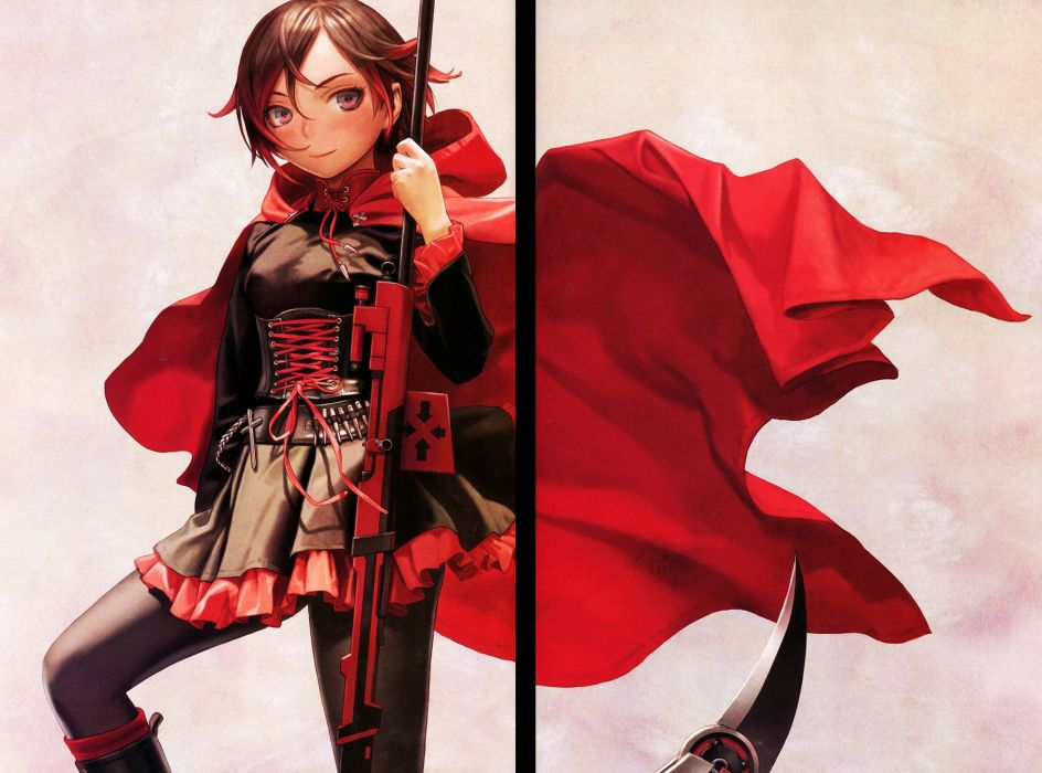 RWBY Volume 1 Official Japanese Fan Book Ruby Rose Hooded Cape Frill Sleeves wallpaper
