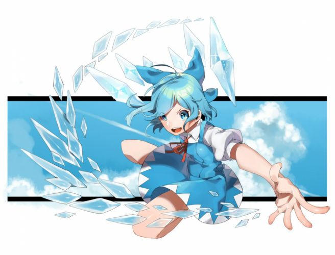 Touhou Cirno Blue Bow Ice Unusual Colored Wings wallpaper