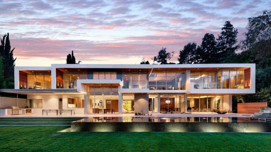 mansion moderna jardin piscina cristaleria wallpaper
