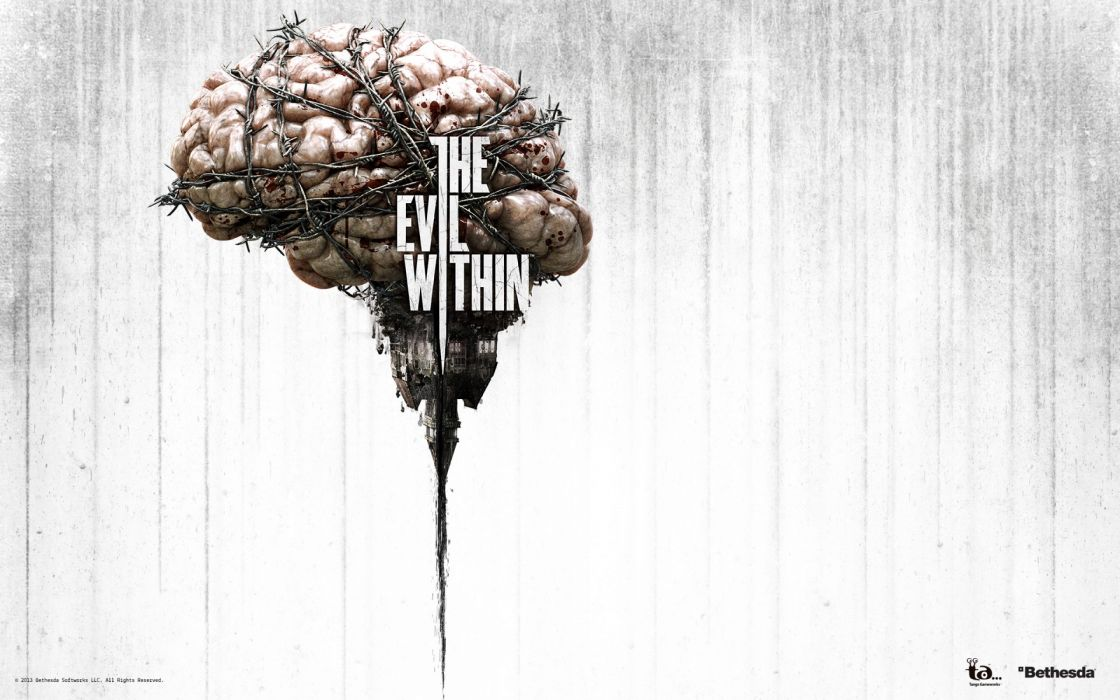 EVIL WITHIN survival horror action fighting 1ewith dark zombie brain blood poster wallpaper