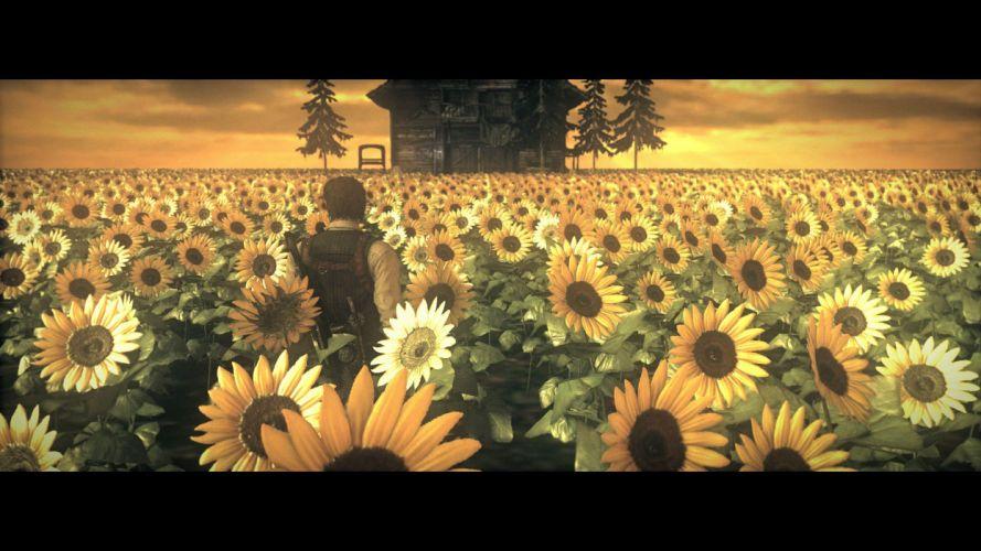 EVIL WITHIN survival horror action fighting 1ewith dark flower sunflower wallpaper
