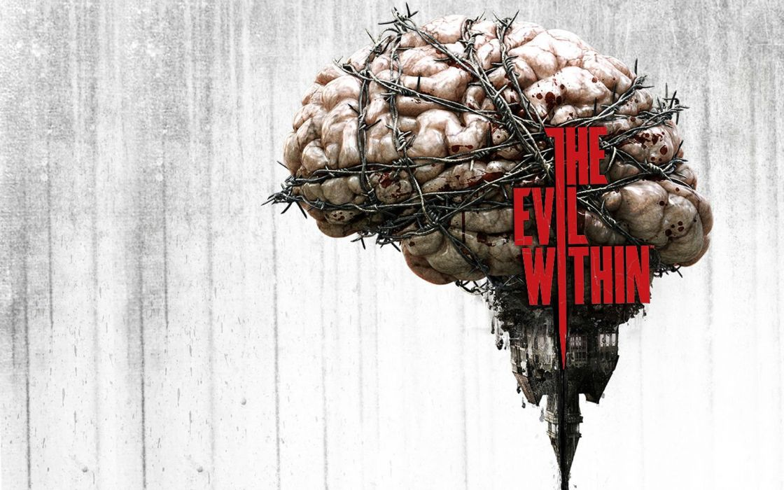 EVIL WITHIN survival horror action fighting 1ewith dark brain blood poster wallpaper