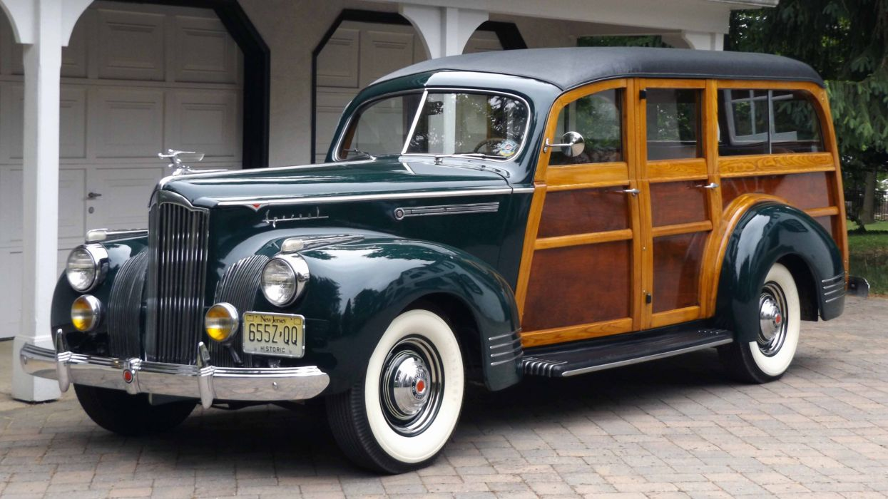 1941 Packard 110 Station Wagon Woodie Classic Old Vintage Retro Chevy Original Usa 03 Wallpaper