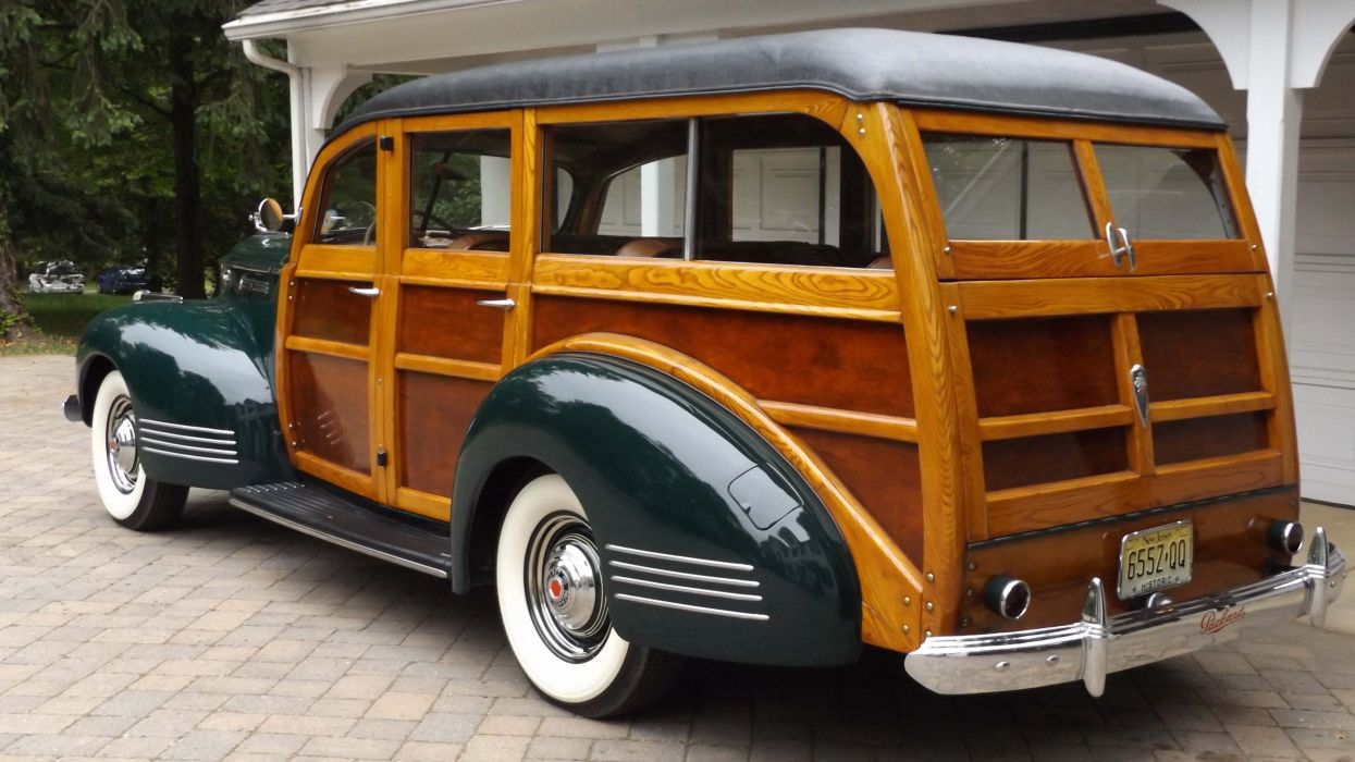 1941 Packard 110 Station Wagon Woodie Classic Old Vintage Retro Original USA -02 wallpaper
