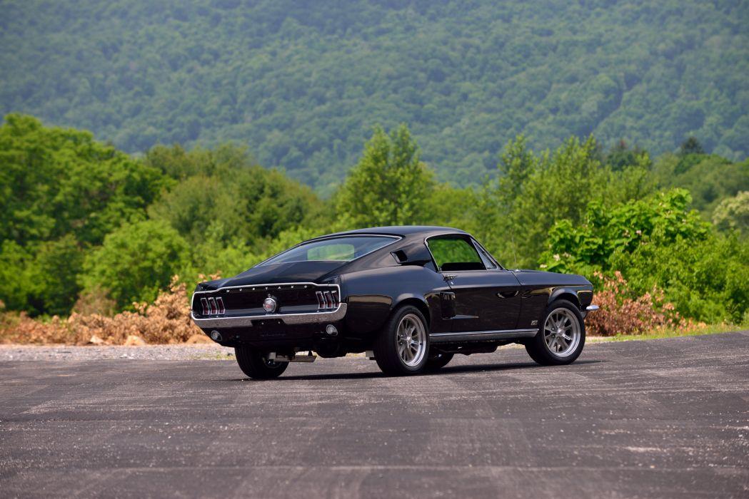 1968 Ford Mustang GT Fastback Muscle Resto Mod Street Rod Streetrod Cruiser Black USA -03 wallpaper