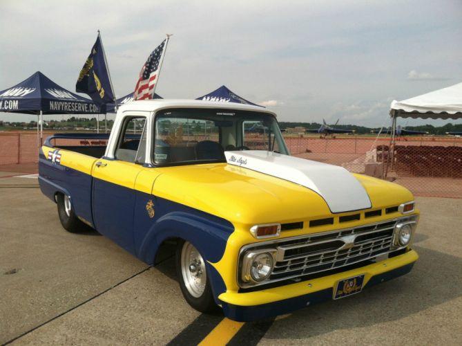 1966 Ford F-100 pickup blue angels hot rod rods custom h wallpaper
