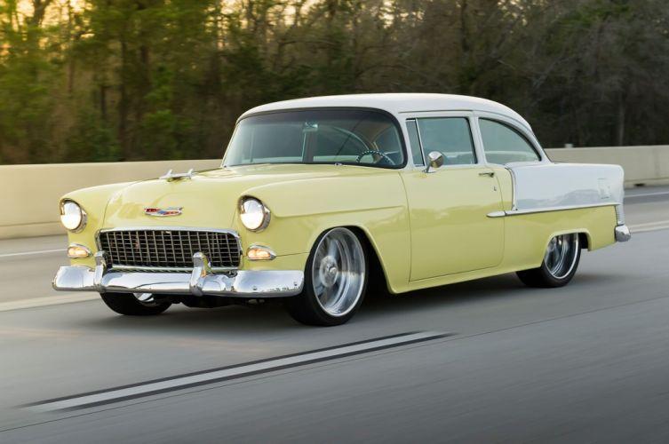1955 Chevrolet Chevy Belair Bel Air Streetrod Street Rod Cruiser Low USA -01 wallpaper