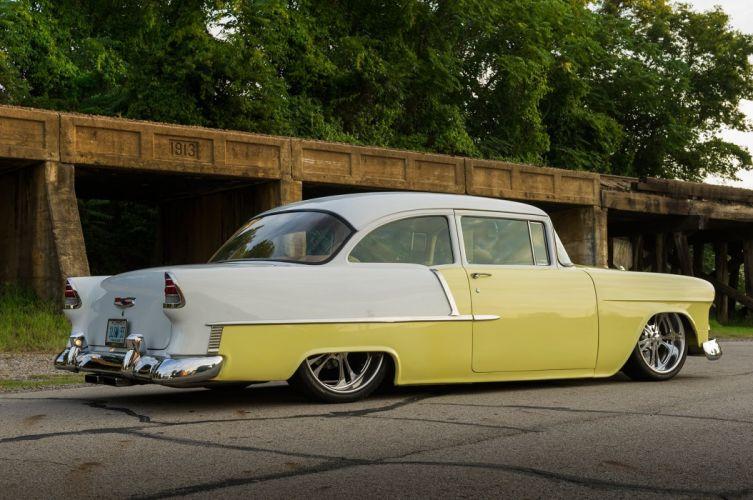 1955 Chevrolet Chevy Belair Bel Air Streetrod Street Rod Cruiser Low USA -06 wallpaper