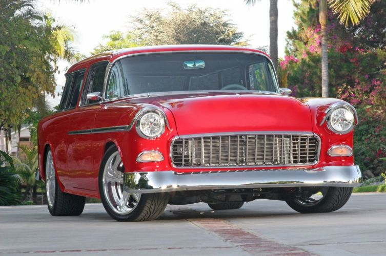 1955 Chevrolet Chevy Nomad Streetrod Street Rod Cruiser Low USA -01 wallpaper