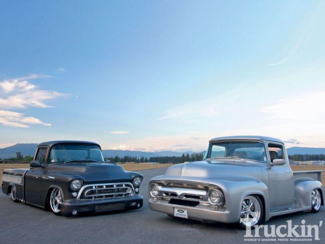 1956 Ford F-100 Pickup 1957 Chevrolet Chevy Pickup Cameo Custom Hotrod Street Rod Hot USA -01 wallpaper