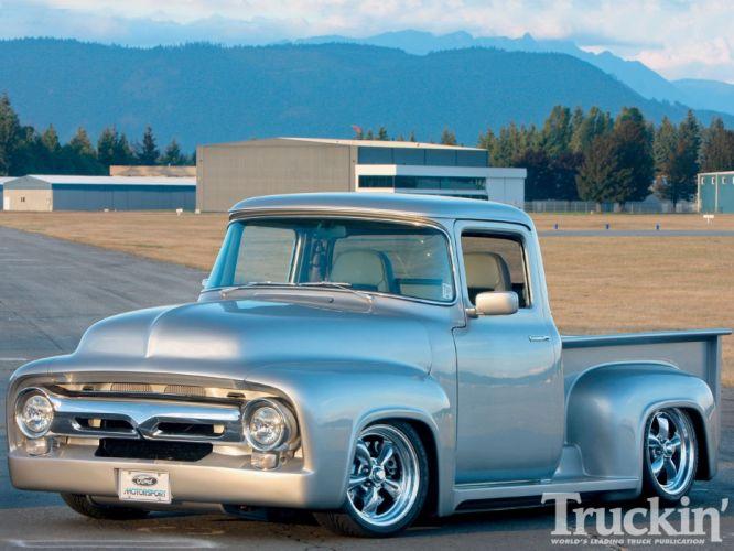 1956 Ford F-100 Pickup Custom Hotrod Street Rod Hot USA -01 wallpaper