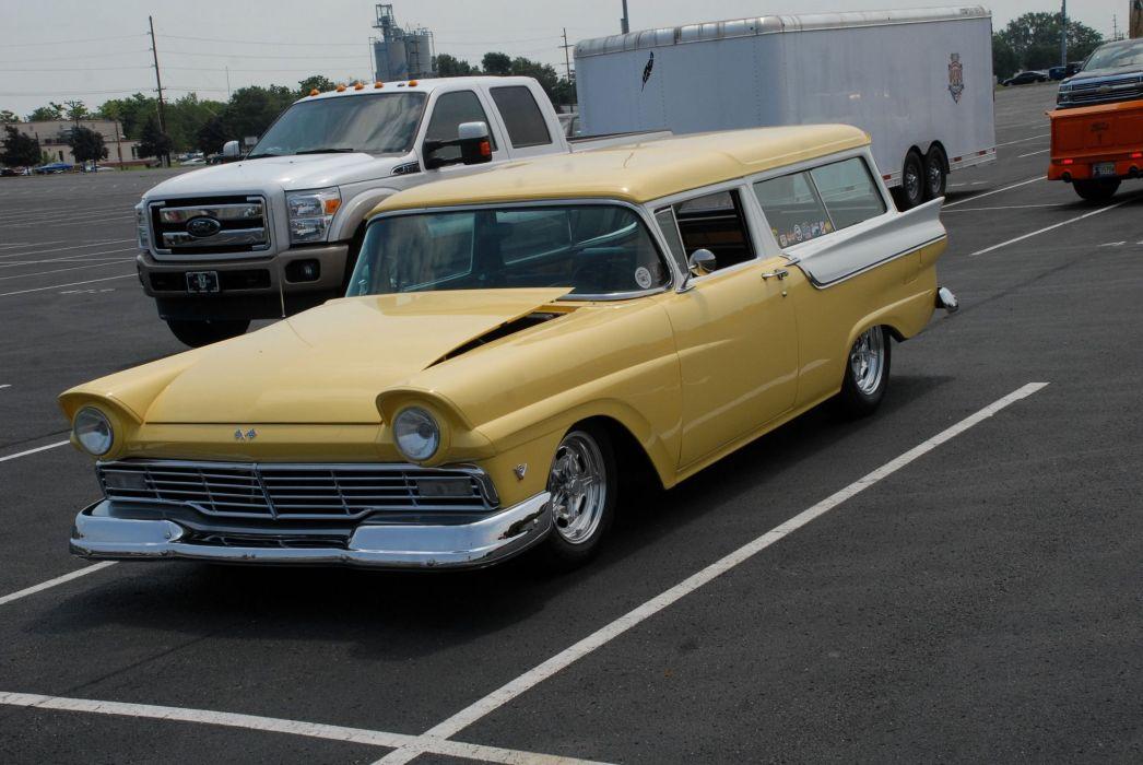 1957 Ford Fairlane Station Wagon Streetrod Stree Rod Cruiser USA -01 wallpaper