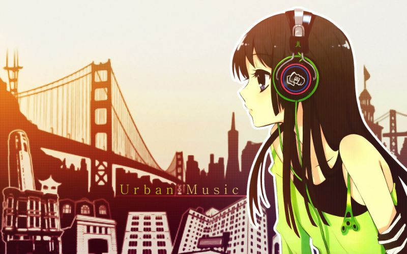 Anime girl with headphones wallpaper