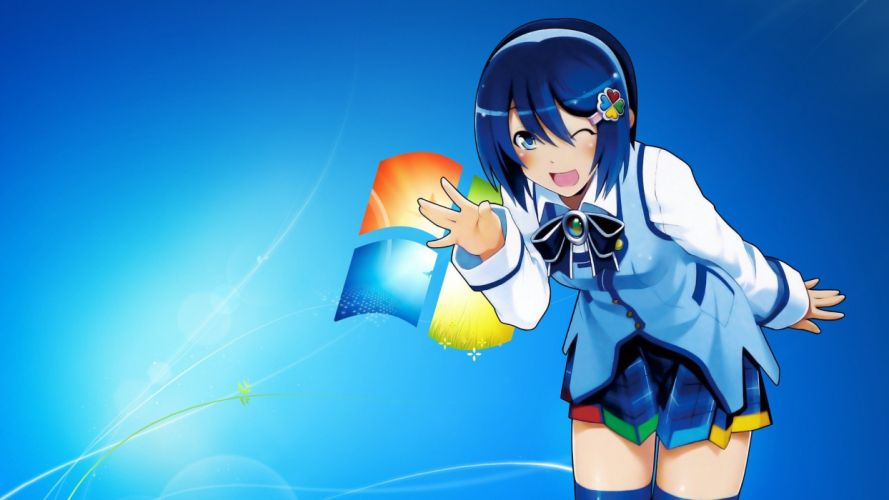 Anime girl blue hair blue eyes windows7 background wallpaper