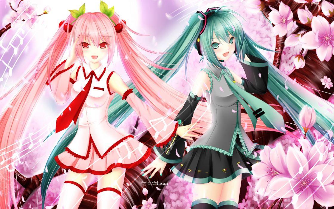 Vocaloid Miku Hatsune and Miku Hatsune spring version wallpaper