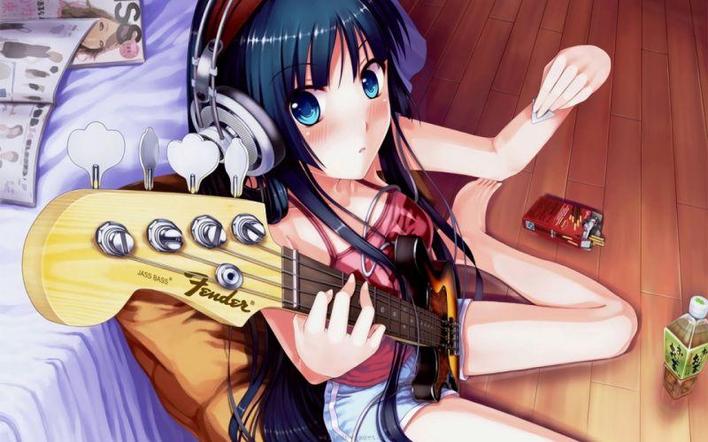 Mio Akiyama with headphones and guitar wallpaper