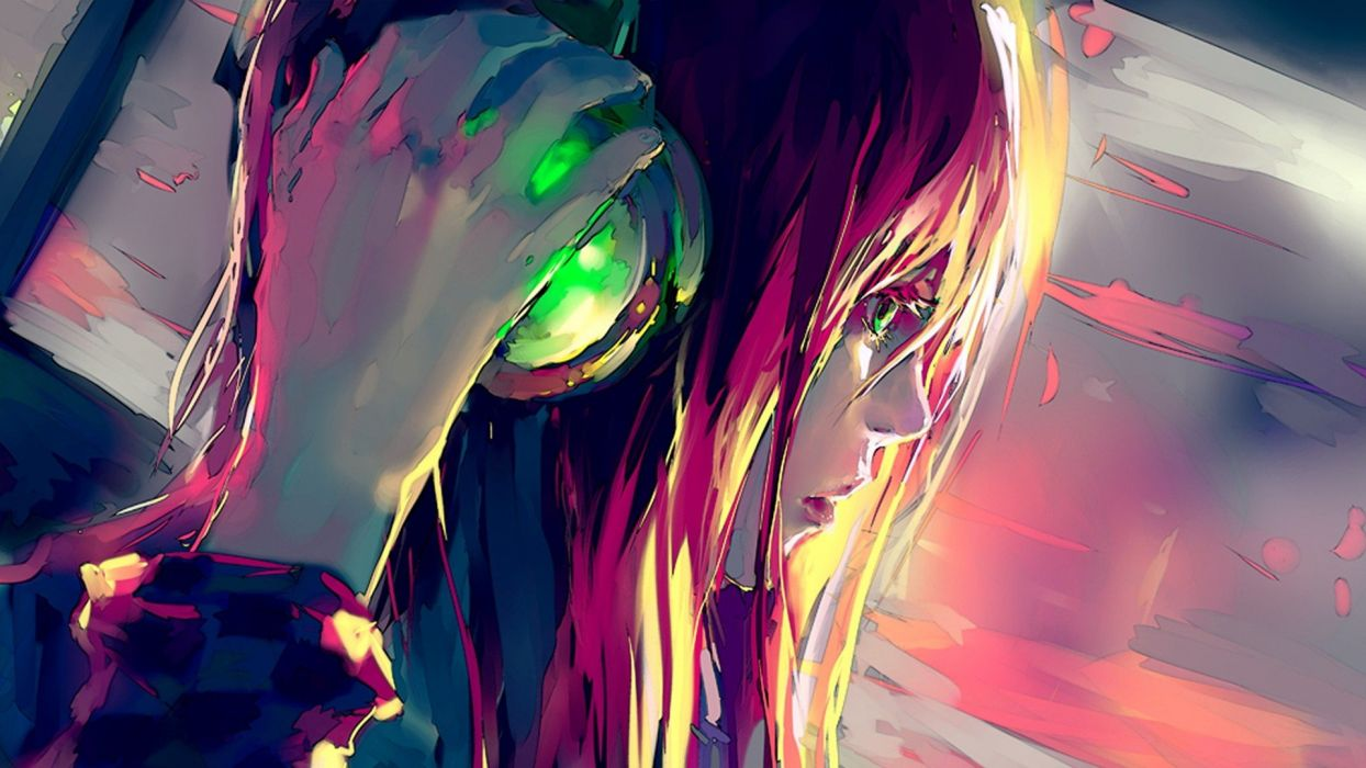 Anime Girl With Headphones Wallpaper 1920x1080 776140 Wallpaperup