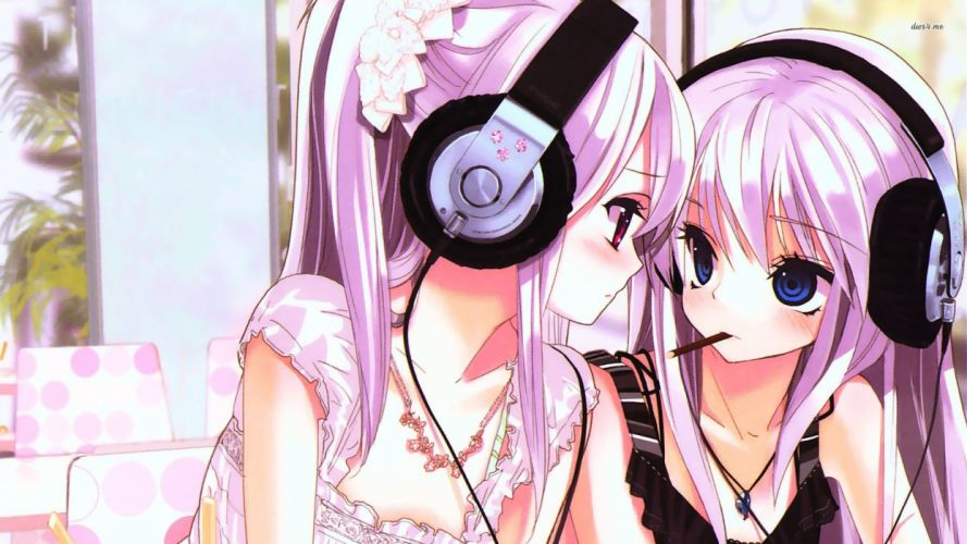 Anime girls pink hair pink and blue eyes with headphones wallpaper