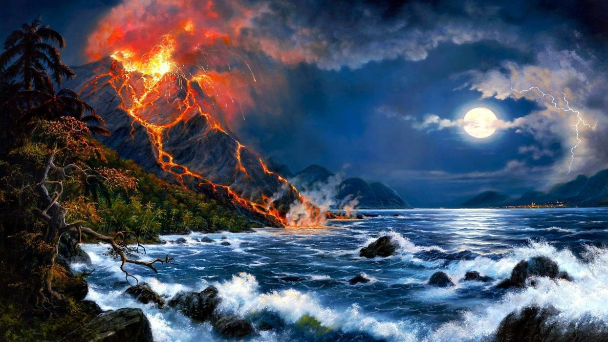 volcan arte pintura wallpaper