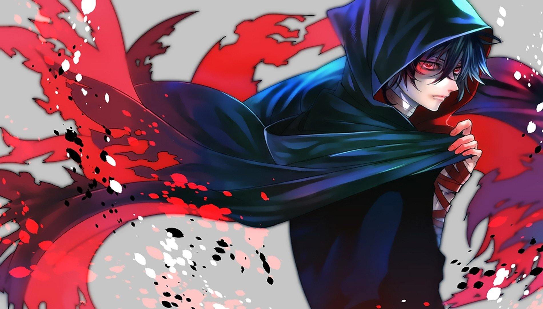 anime boy with red eyes blue hair wallpaper 1900x1080