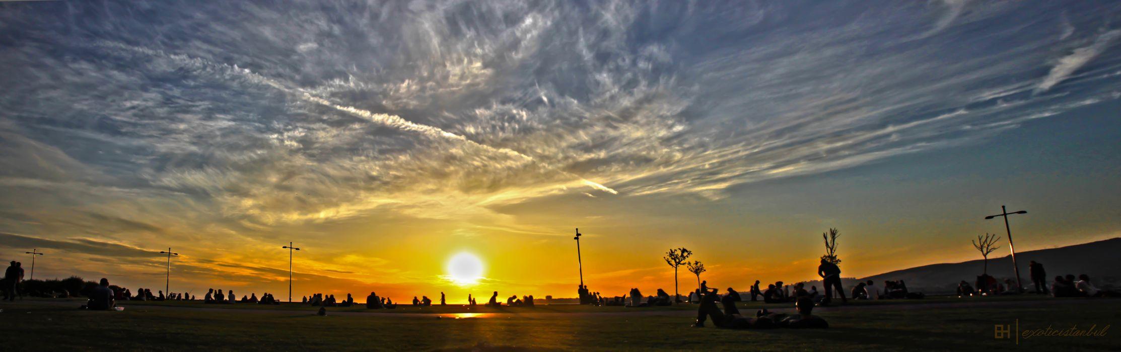 izmir emre hanoglu sky peoples sunset clouds beautiful city wallpaper