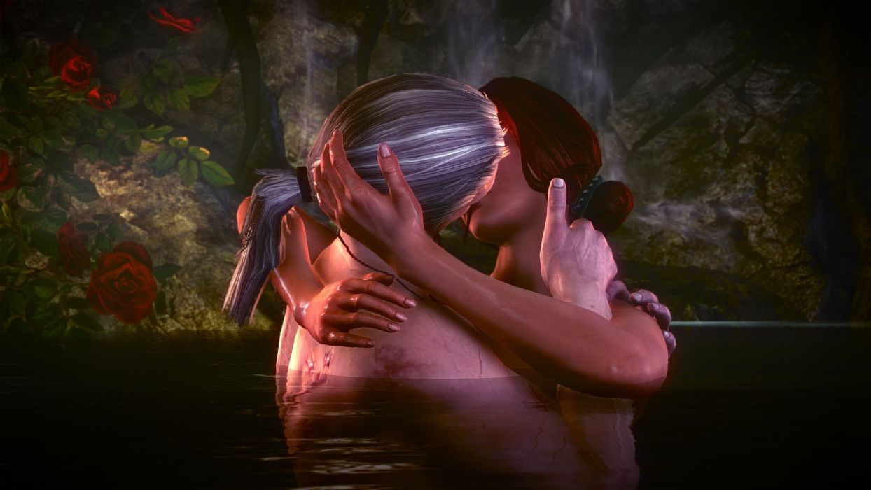 The Witcher 2 Assassins of Kings Geralt Triss Merigold Love Water Passion Rose wallpaper