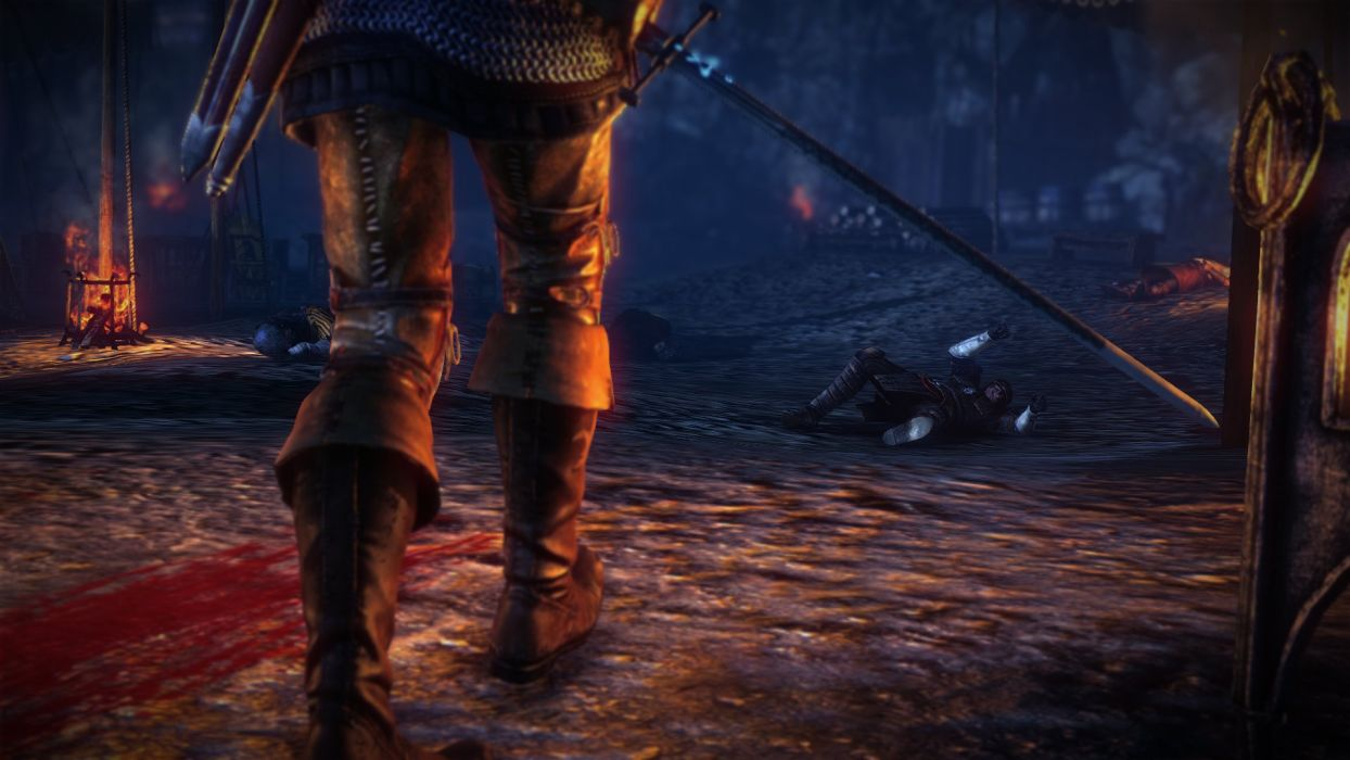 The Witcher 2 Assassins of Kings Geralt Sword Blood Serrit wallpaper
