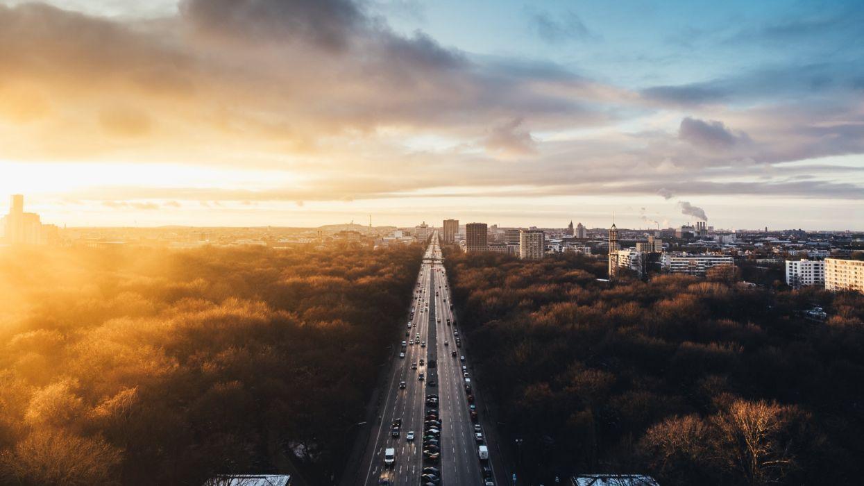 Sunset at Tiergarten wallpaper