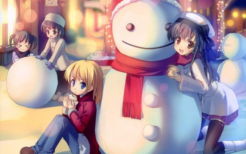 Winter anime snowman wallpaper