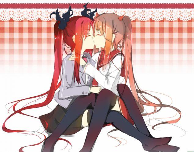 Anime girls kiss wallpaper