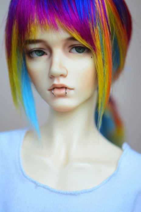 doll rainbow hair beautiful baby face toys wallpaper