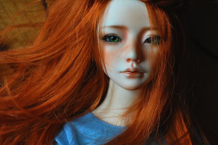doll girl long hair beauty toys red face cute baby wallpaper