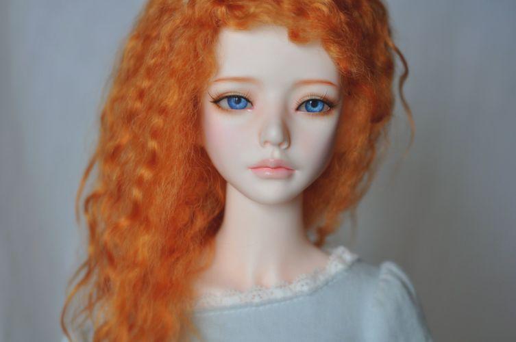 doll toys baby girl beauty long hair cute blue eyes orange wallpaper