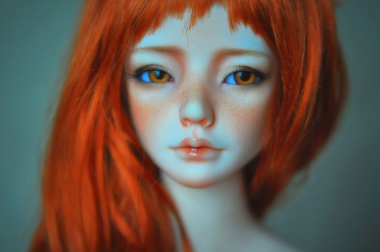 doll toys baby girl beauty long hair cute red brown eyes face wallpaper