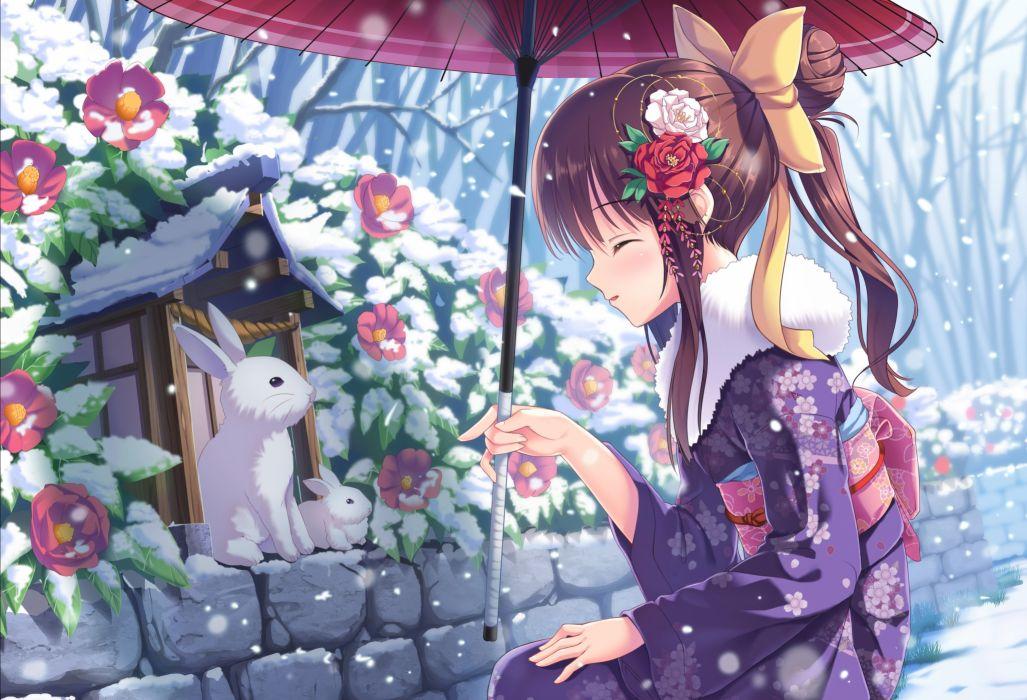 anime winter snow animal rabbit girl beauty long hair cute wallpaper