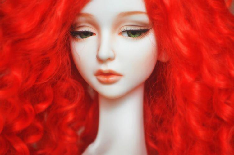 doll baby toys girl beautiful long hair cute green eyes red hair wallpaper