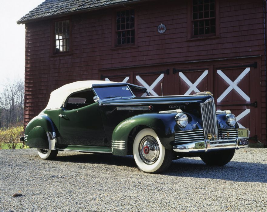 1942 Packard 180 Super Eight Special Convertible Victoria Darrin luxury retro wallpaper