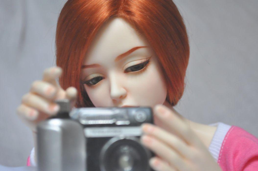 toys doll baby long hair girl beautiful red hair camera cute wallpaper