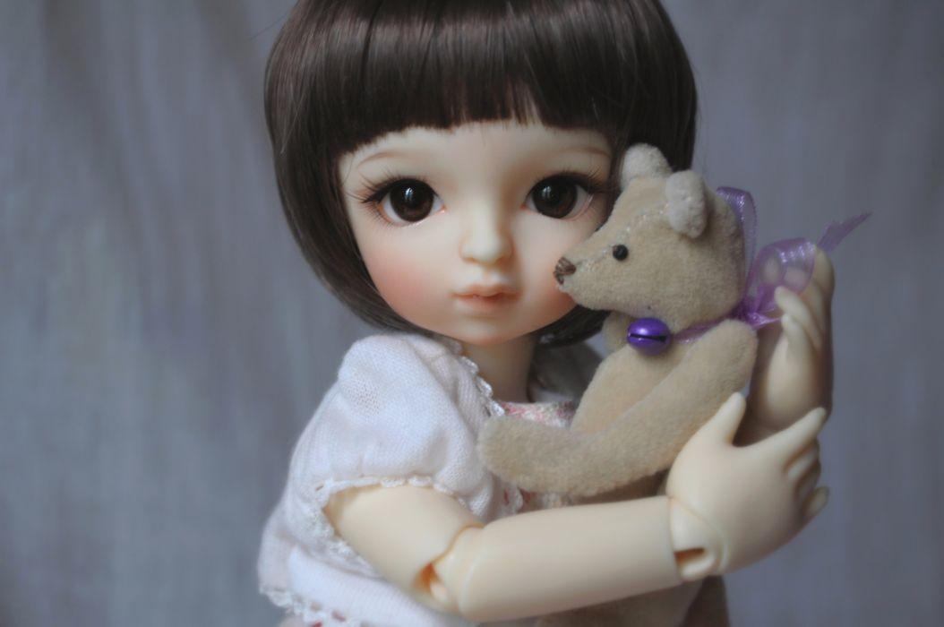 toys doll baby short hair girl beautiful brown eyes cute wallpaper