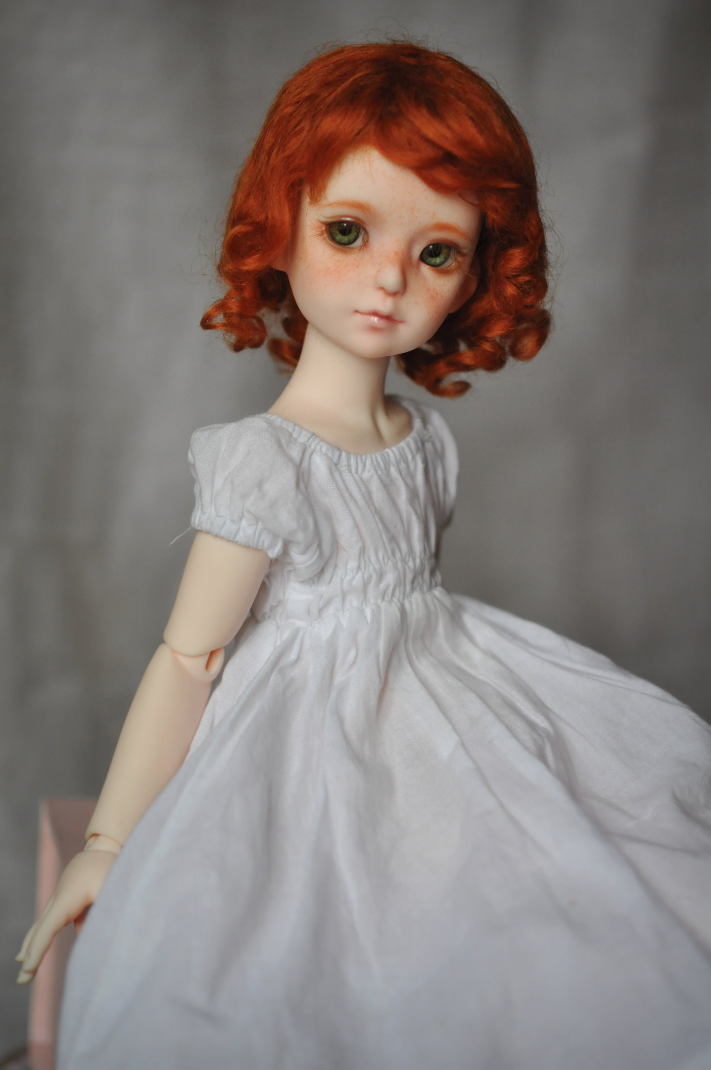 Toys Doll Baby Short Hair Girl Beautiful Red Hair Dress