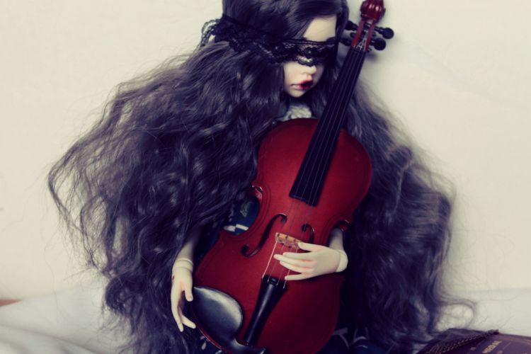 toys doll baby long hair girl beautiful cute violin wallpaper