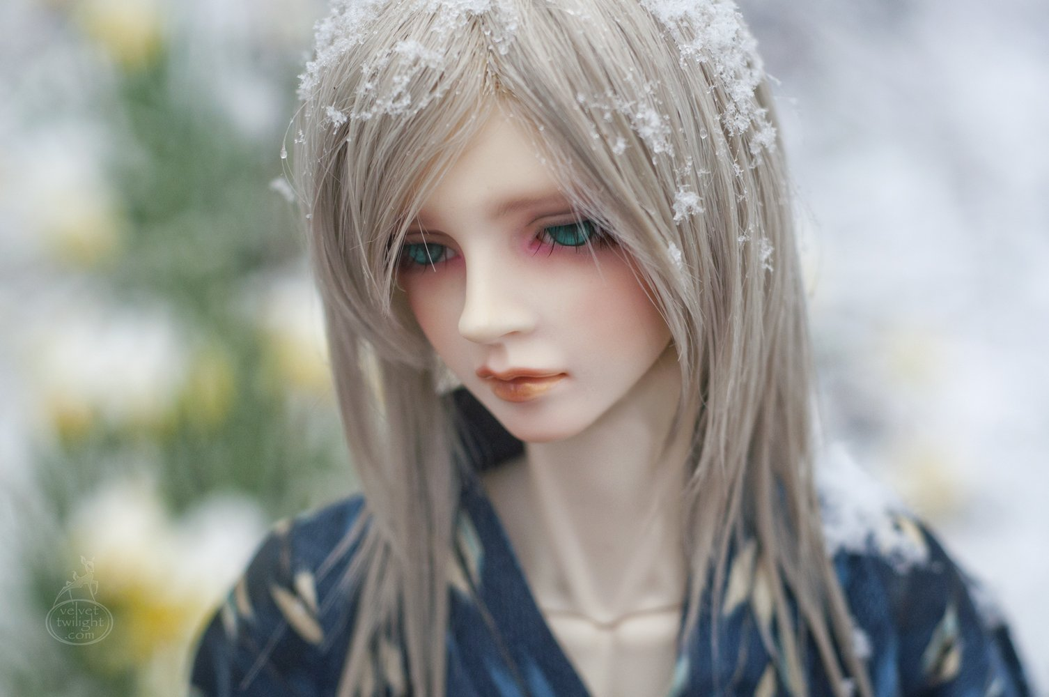 Toys Doll Baby Long Hair Male Beautiful Snow Green Eyes Blonde Cute