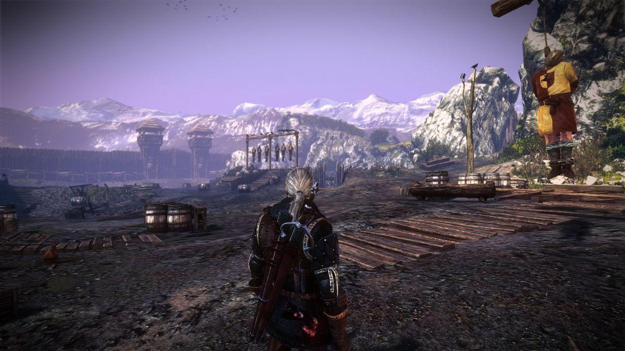 The Witcher 2 Assassins Of Kings Geralt Sword Hanging Death Crows Keadwen Wallpaper