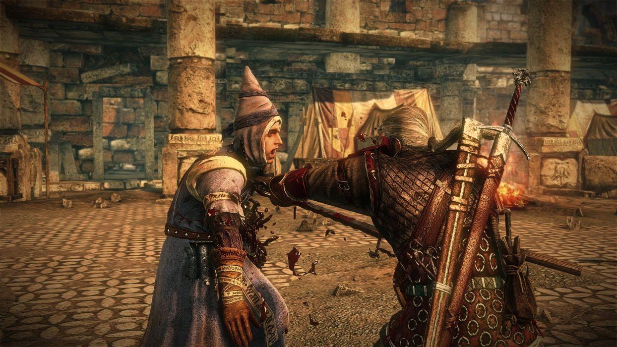 The Witcher 2 Assassins of Kings Wizard Death Geralt Sword Blood wallpaper